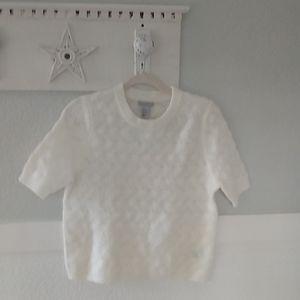 H%M white short sleeve sweater. M